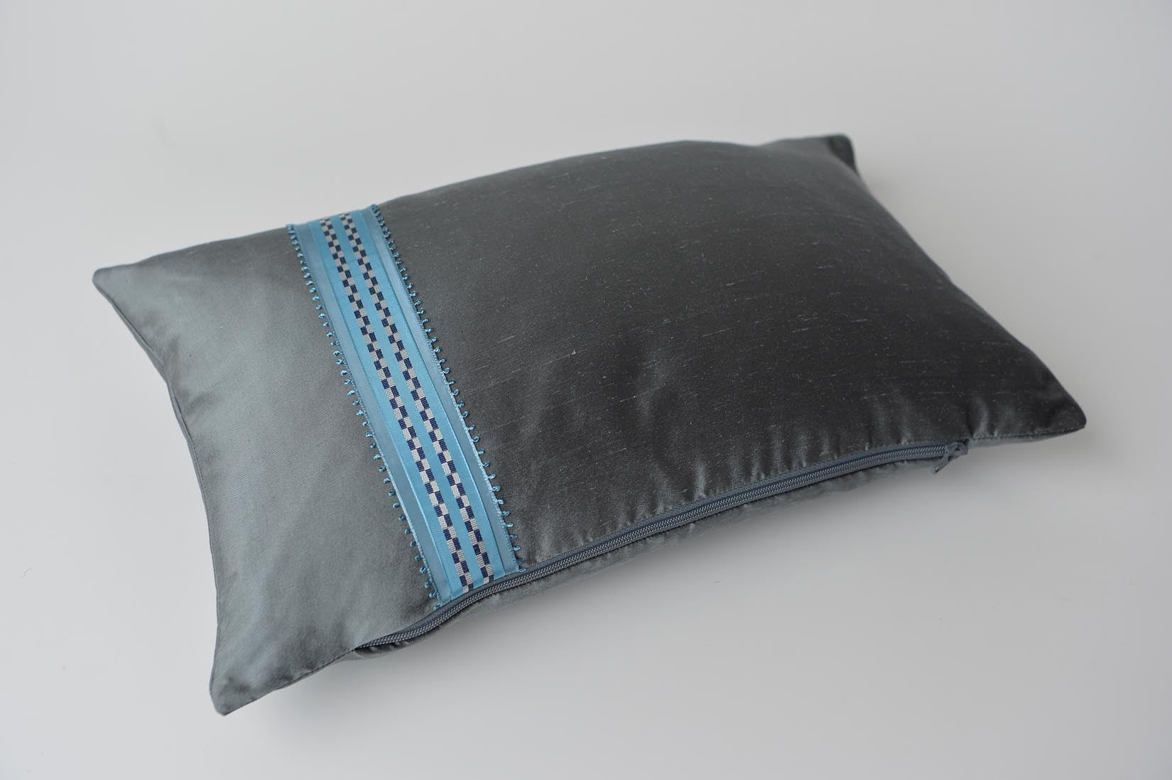 """Course"" Slate grey silk cushion - MyBilletDoux.com"