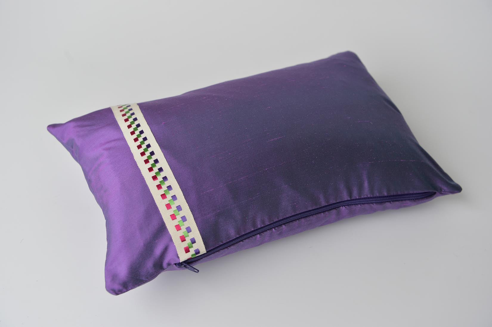 """Carreau"" Empress purple silk cushion - MyBilletDoux.com"