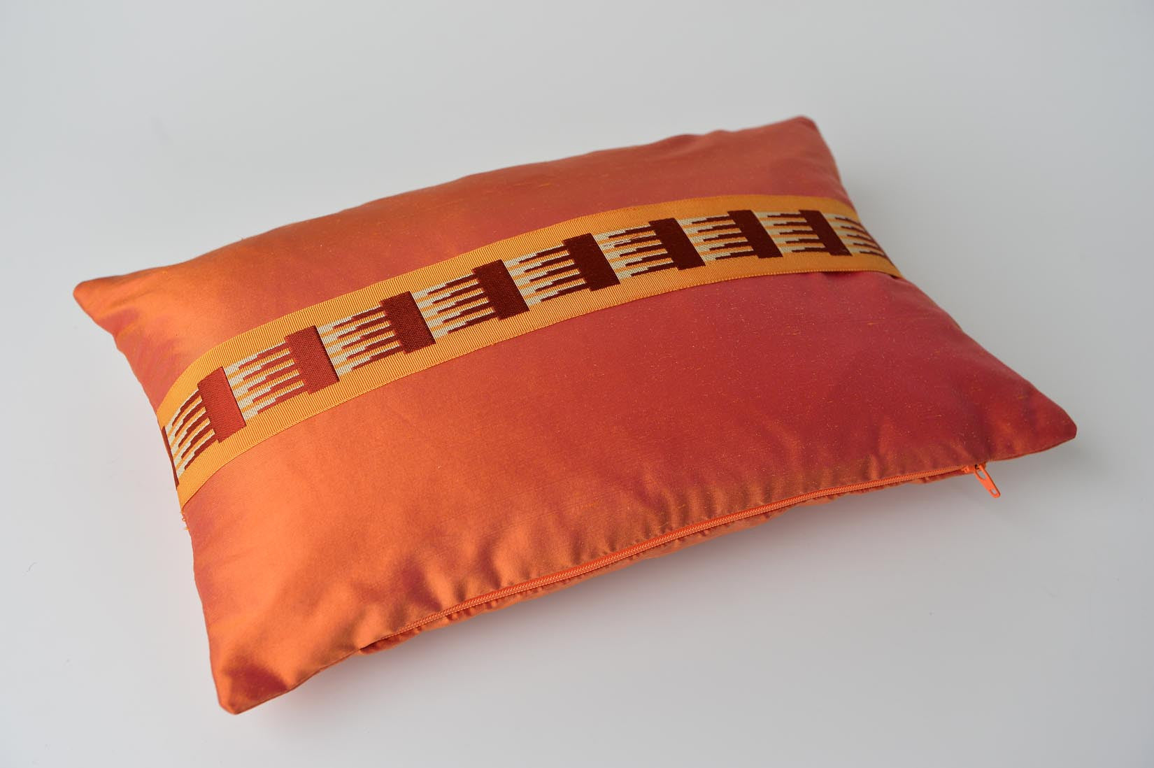 """Peigne"" Pumpkin orange silk cushion - MyBilletDoux.com"