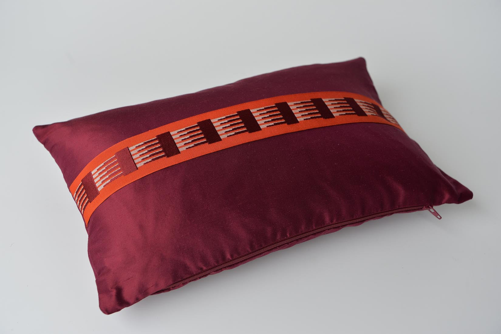 """Peigne"" Wine red silk cushion - MyBilletDoux.com"