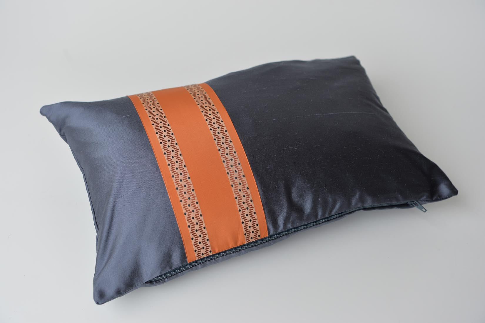 """Serpentin"" Gunmetal grey silk cushion - MyBilletDoux.com"