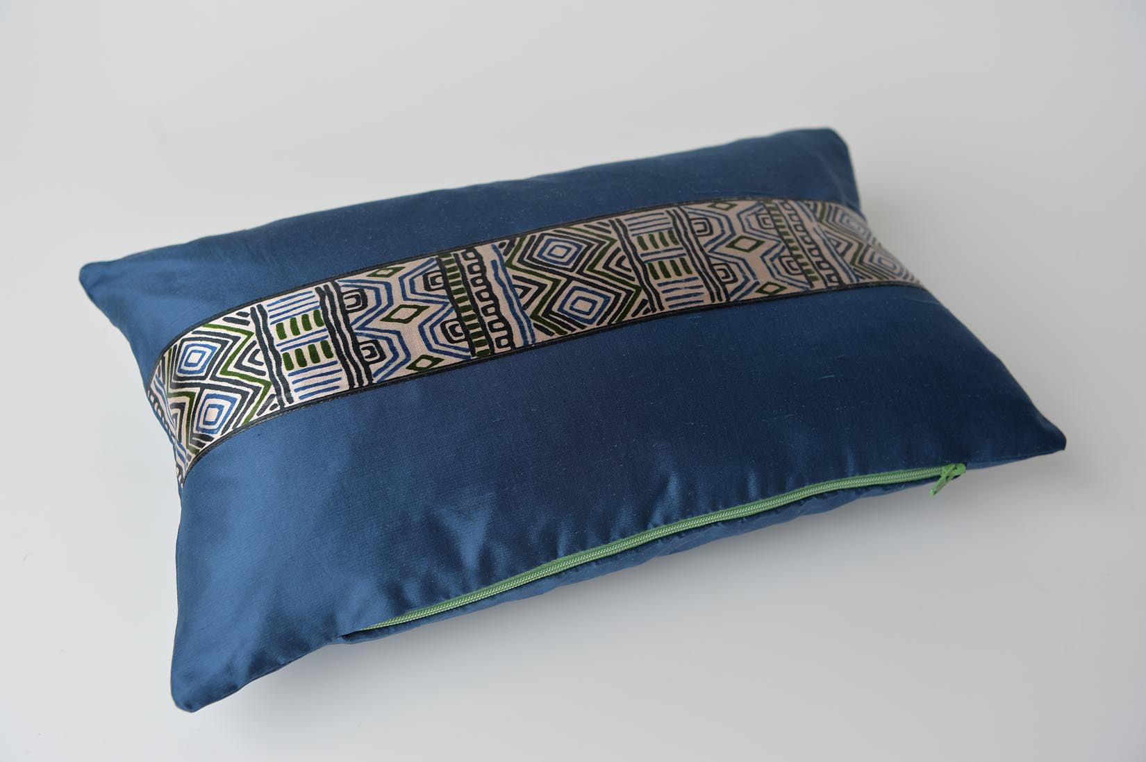 """Tribal"" Insignia blue silk cushion - MyBilletDoux.com"
