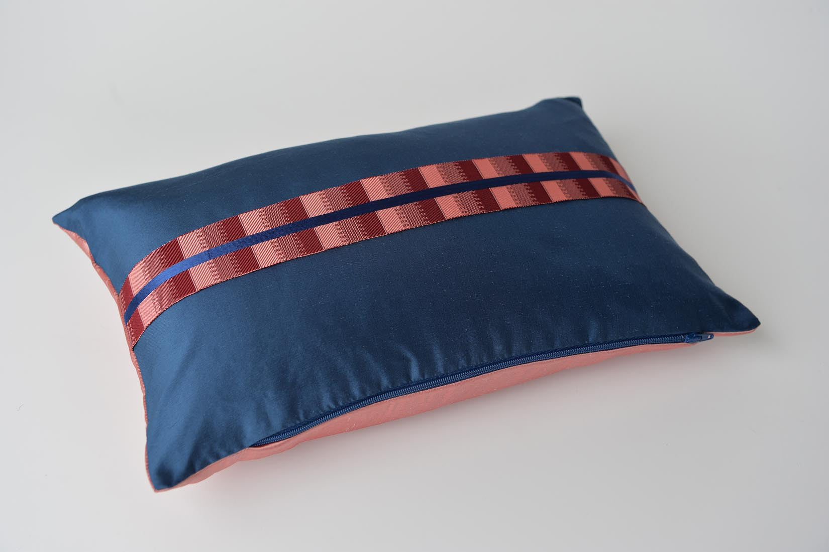 """Ligne"" Insignia blue silk cushion - MyBilletDoux.com"