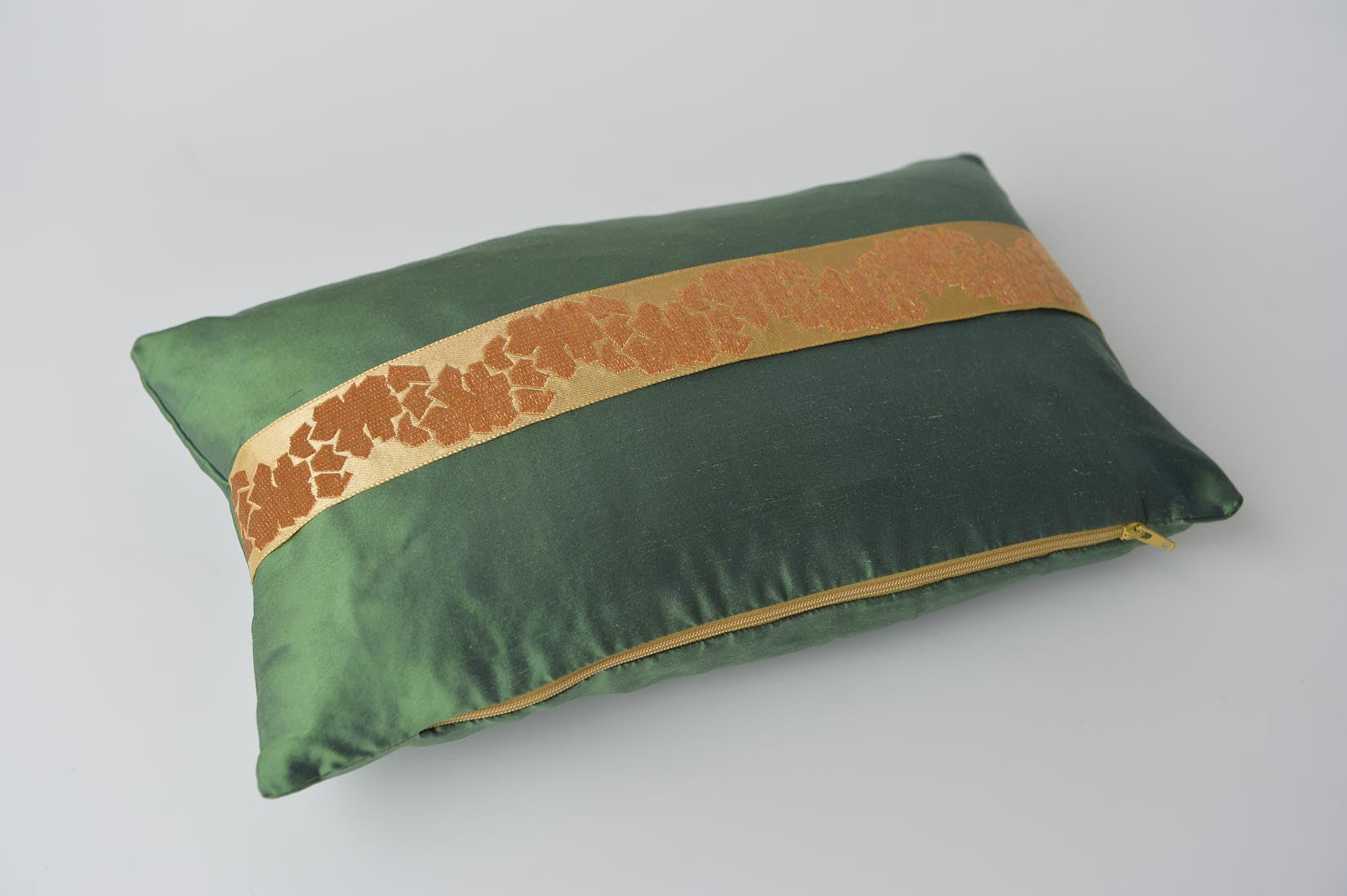 """Fragment"" Fern green silk cushion - MyBilletDoux.com"