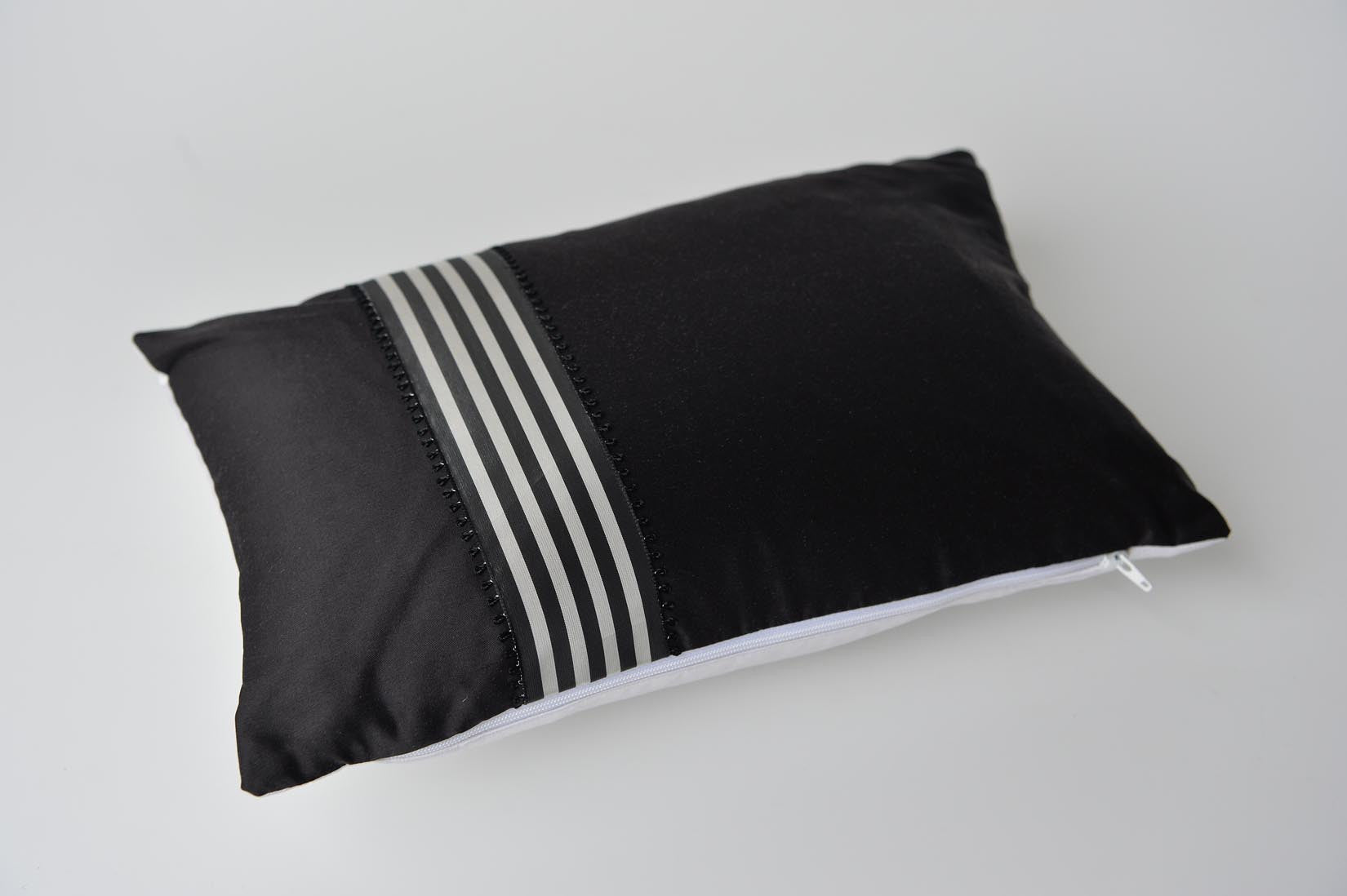 """Picot"" Black silk cushion - MyBilletDoux.com"