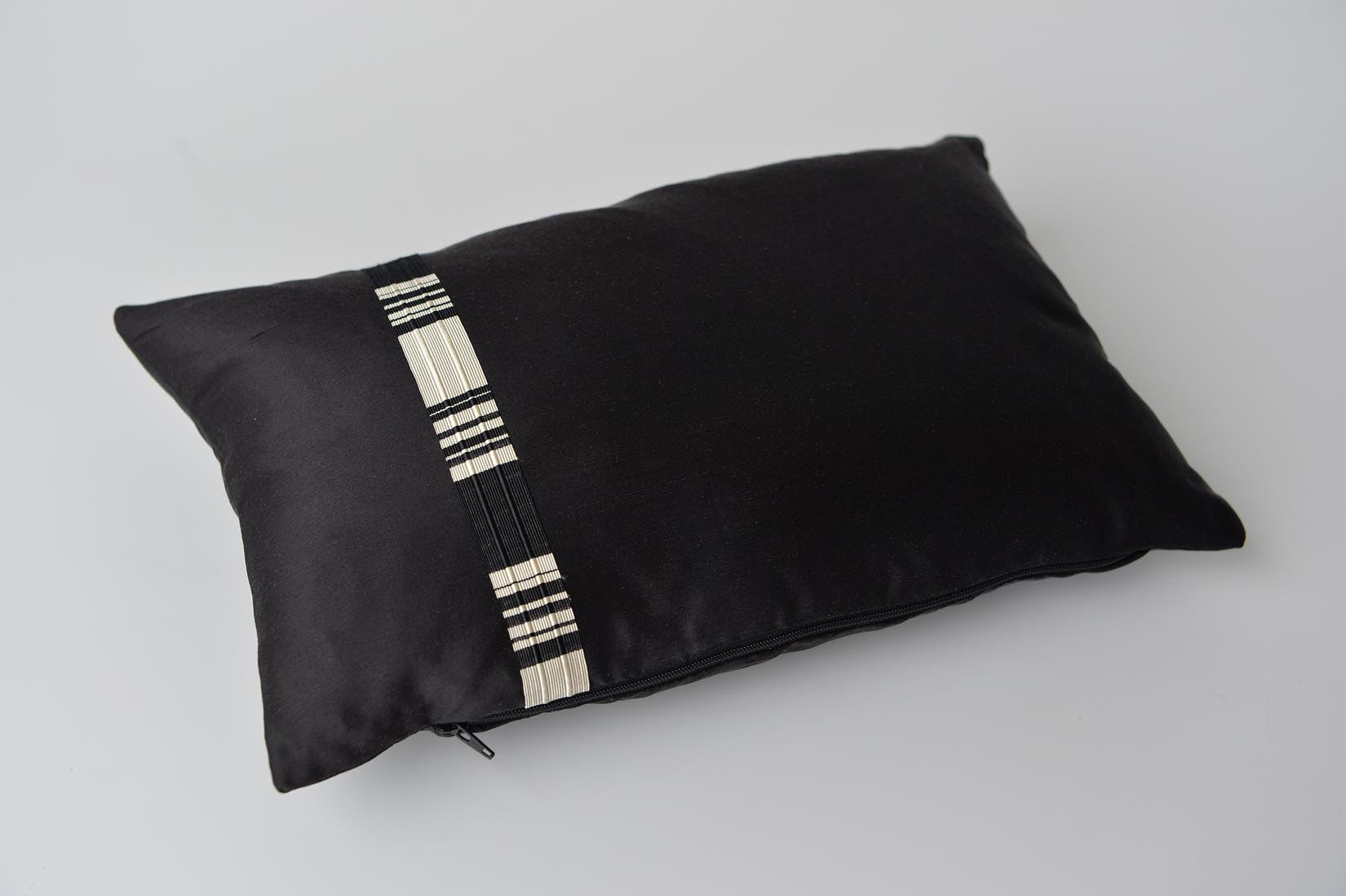 """Relief"" Black silk cushion - MyBilletDoux.com"