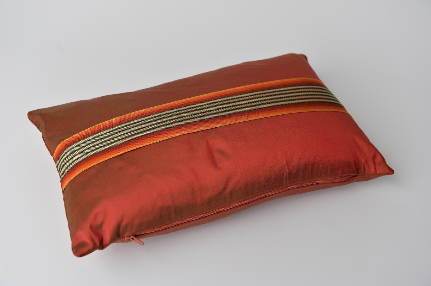 """Bandeau"" Tabasco red silk cushion - MyBilletDoux.com"