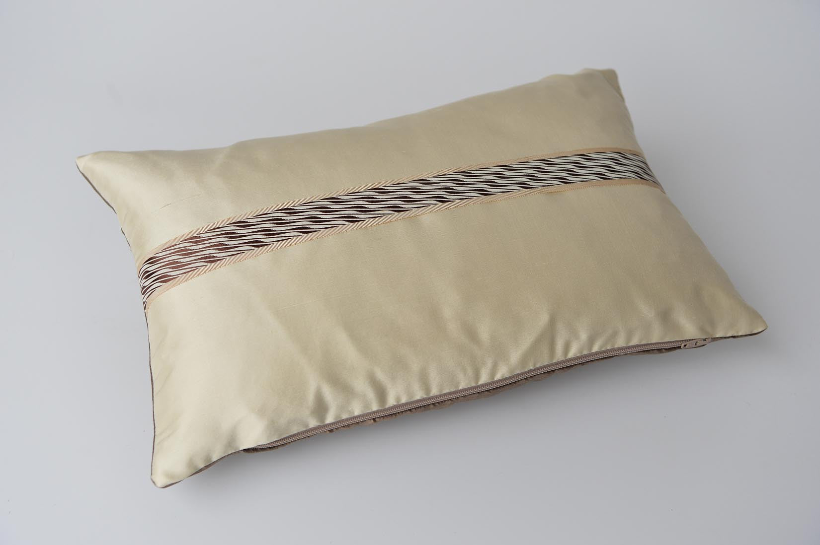 """Zébré"" Ivory silk cushion - MyBilletDoux.com"