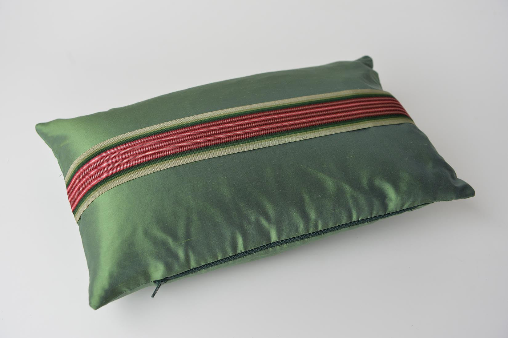 """Bandeau"" Fern green silk cushion - MyBilletDoux.com"