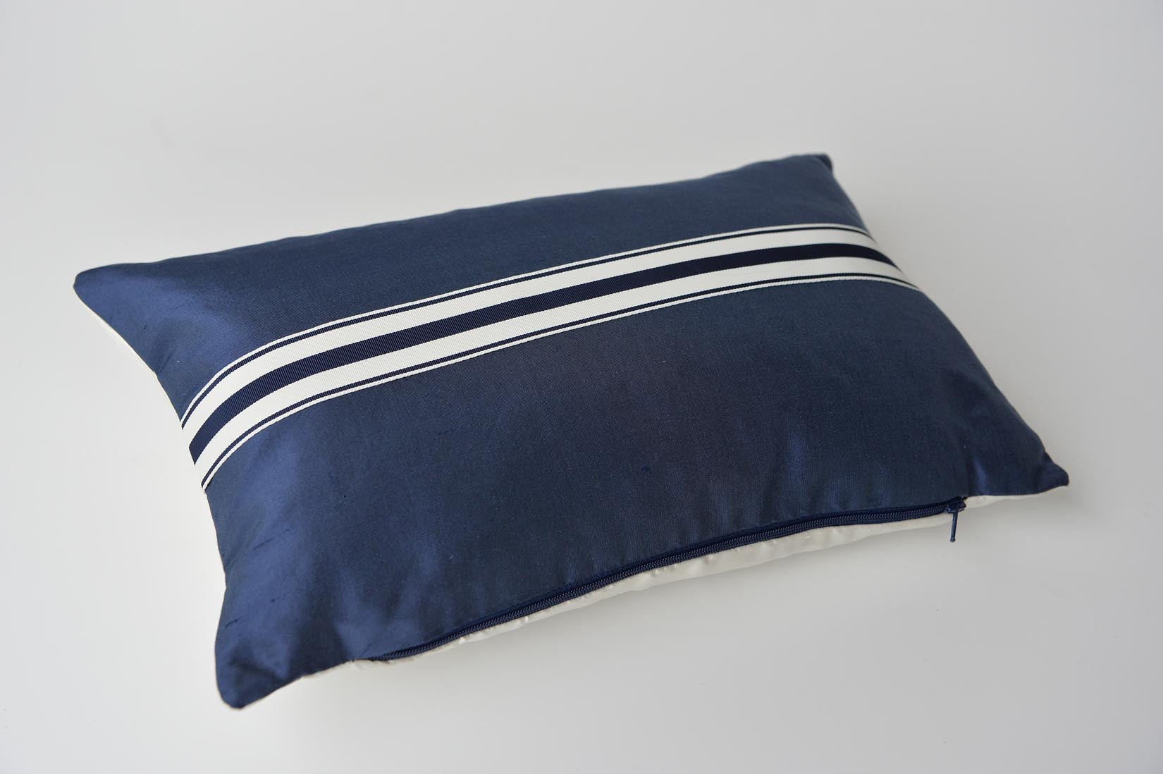 """Rayé"" Wilhelm blue silk cushion - MyBilletDoux.com"