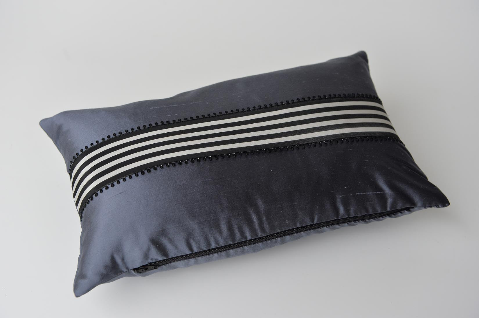 """Picot"" Gunmetal grey silk cushion - MyBilletDoux.com"