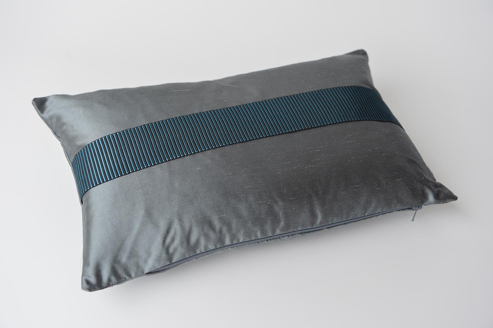 """Rayé"" Slate grey silk cushion - MyBilletDoux.com"