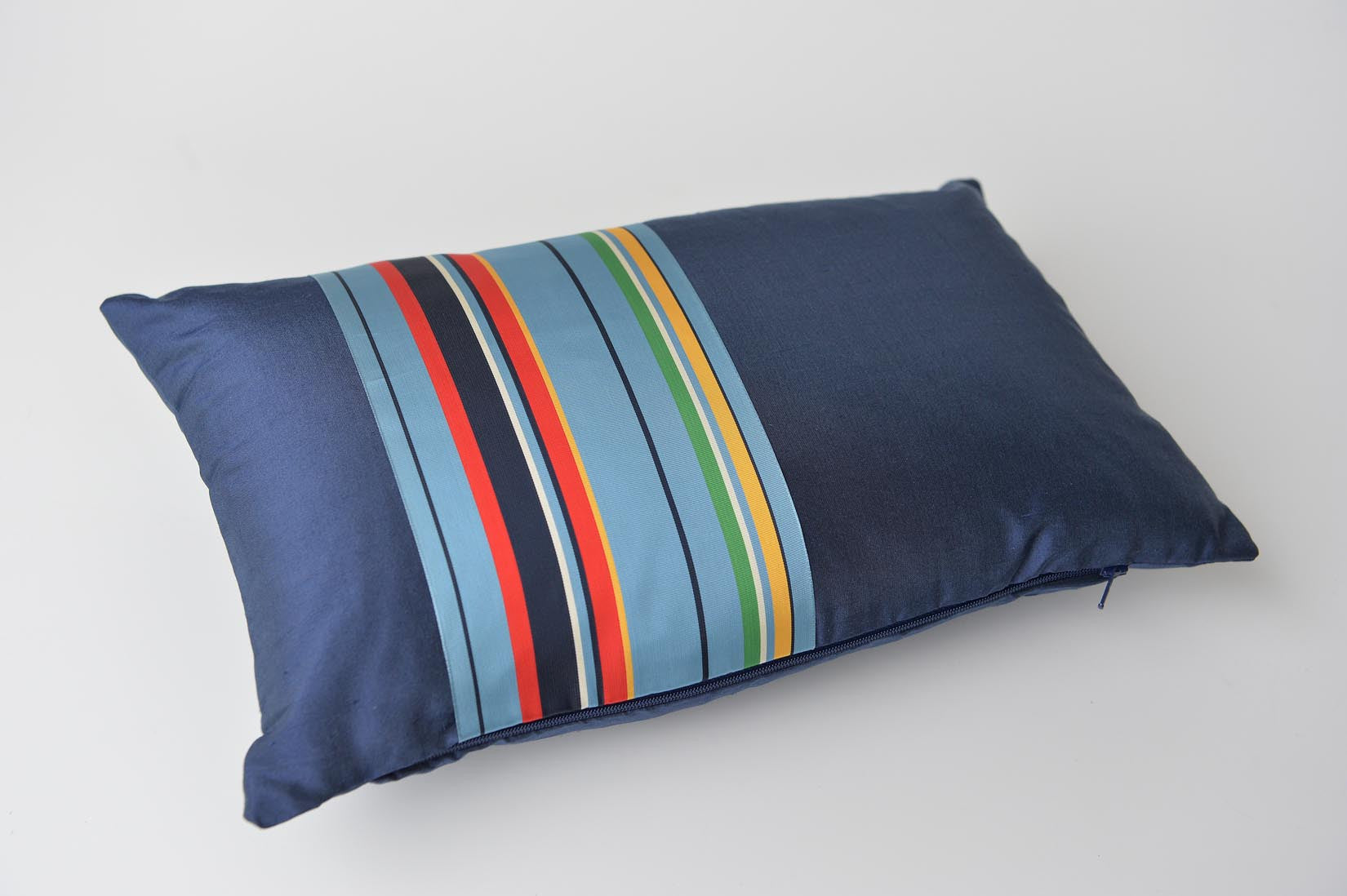 """Bande"" Wilhelm blue silk cushion - MyBilletDoux.com"