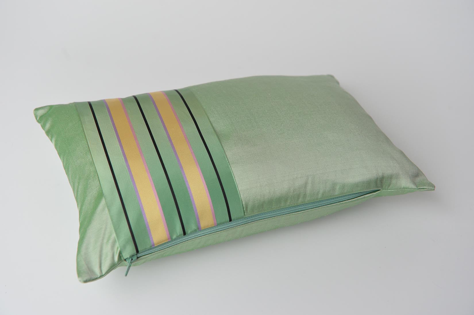 """Bande"" Willow green silk cushion - MyBilletDoux.com"