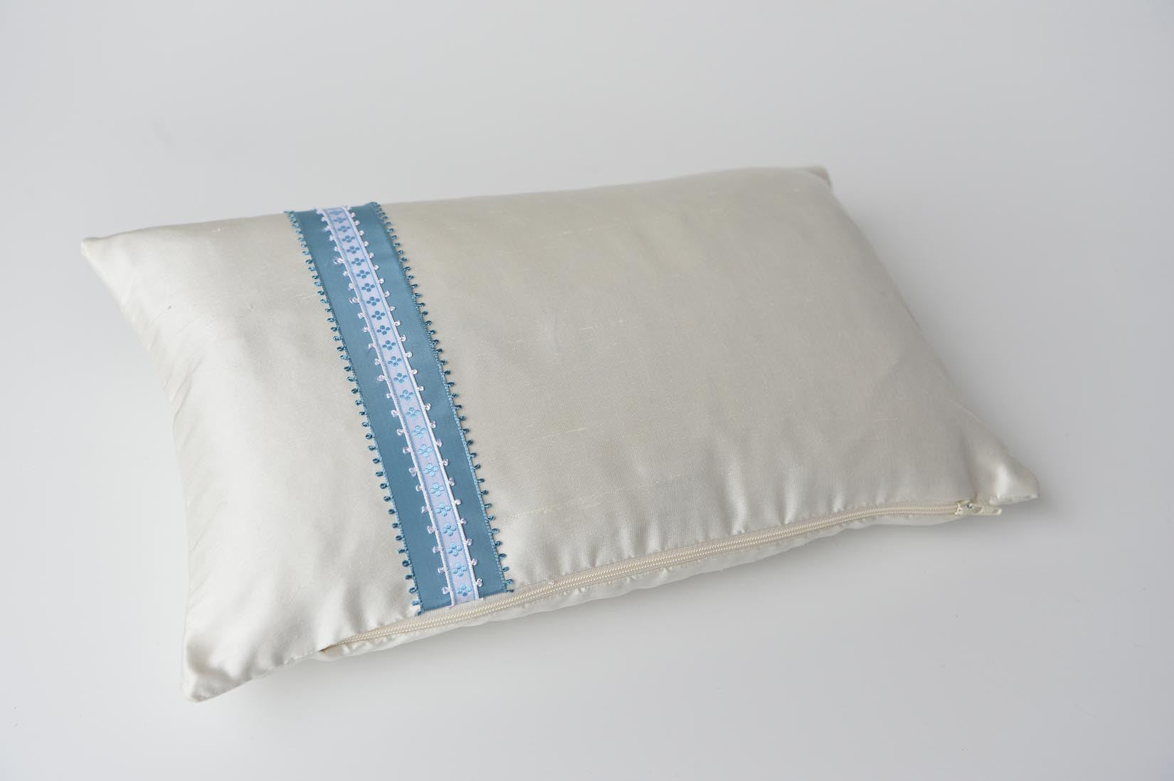 """Picot"" Porcelain silk cushion - MyBilletDoux.com"