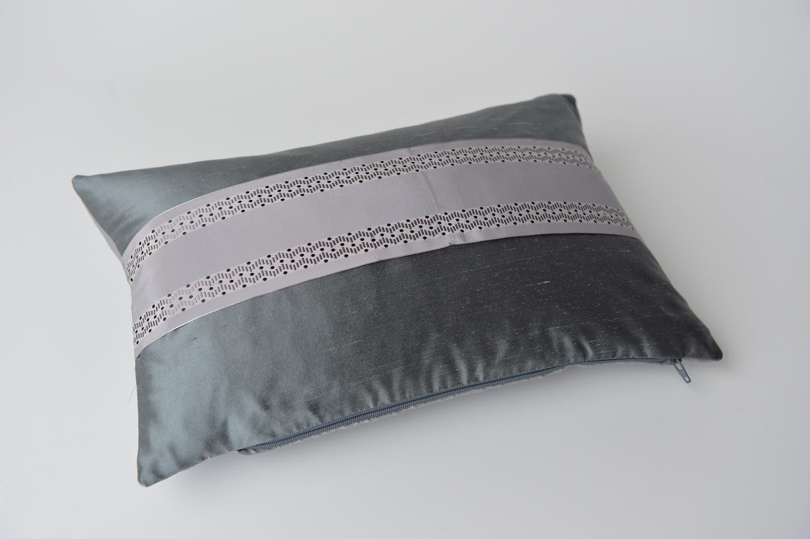 """Serpentin"" Slate grey silk cushion - MyBilletDoux.com"