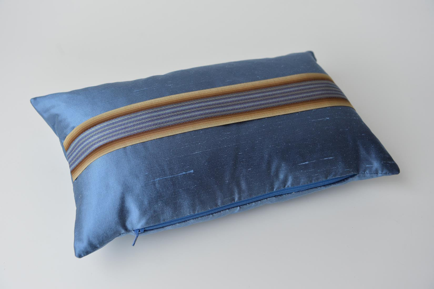 """Bandeau"" Rivera blue silk cushion - MyBilletDoux.com"