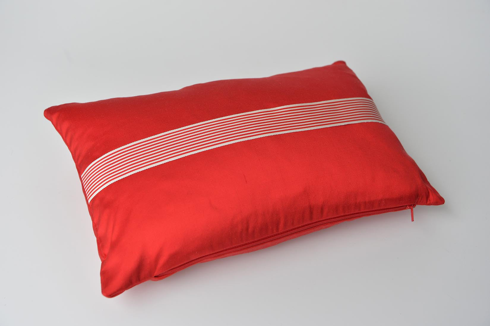 """Rayé"" Ruby red silk cushion - MyBilletDoux.com"