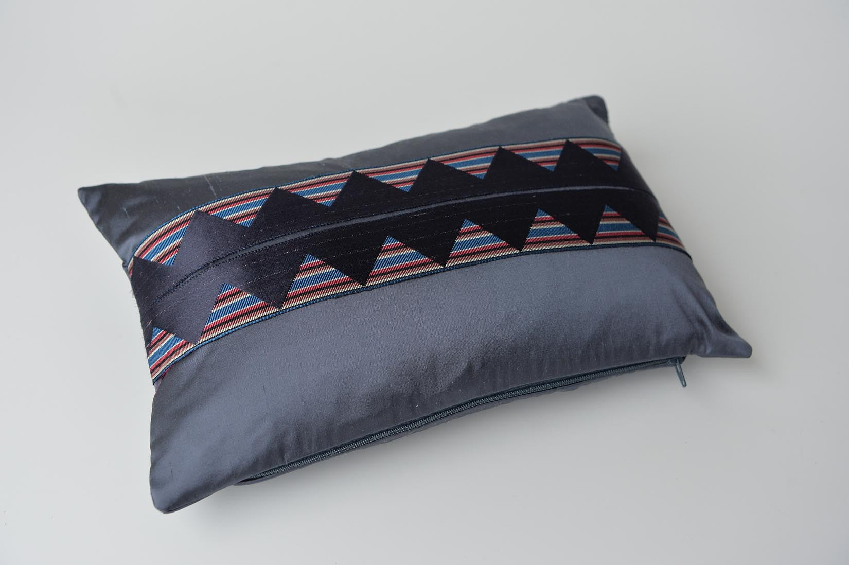 """ZigZag"" Gunmetal grey silk cushion - MyBilletDoux.com"