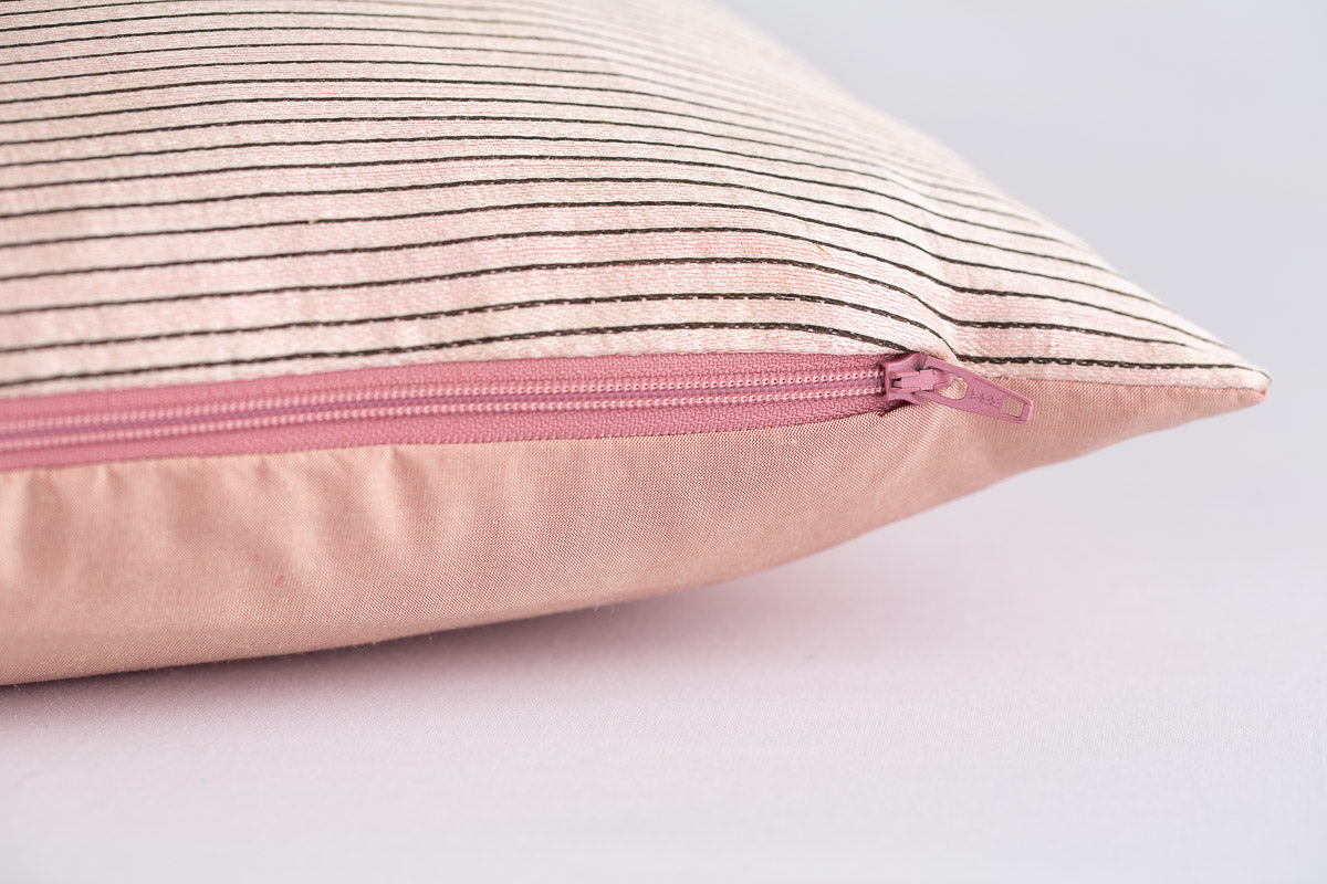 """Ottoman"" stripe pink silk cushion"