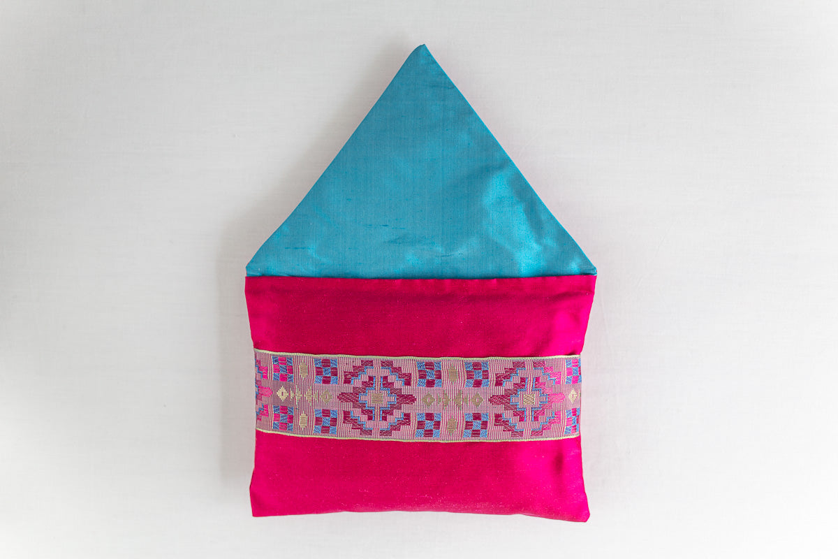 """Geometrique"" Hot pink silk envelope cushion"