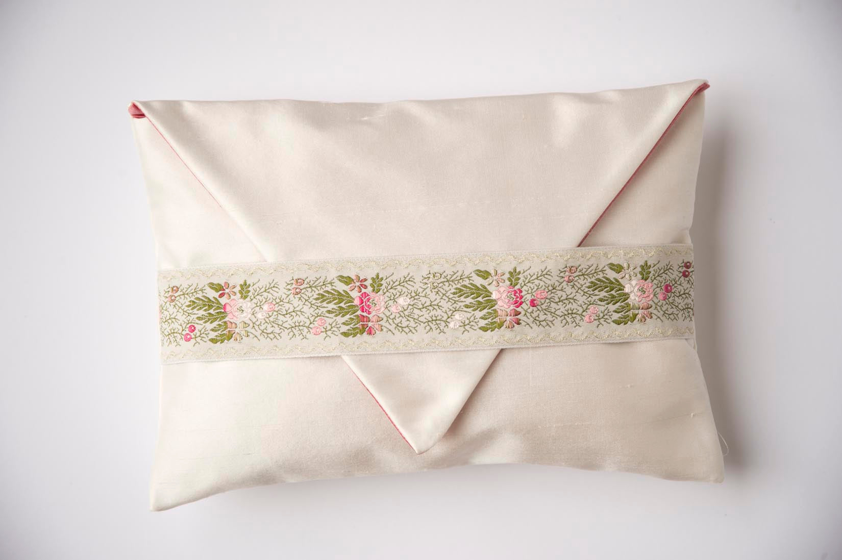 Flower bud white silk envelope cushion - MyBilletDoux.com