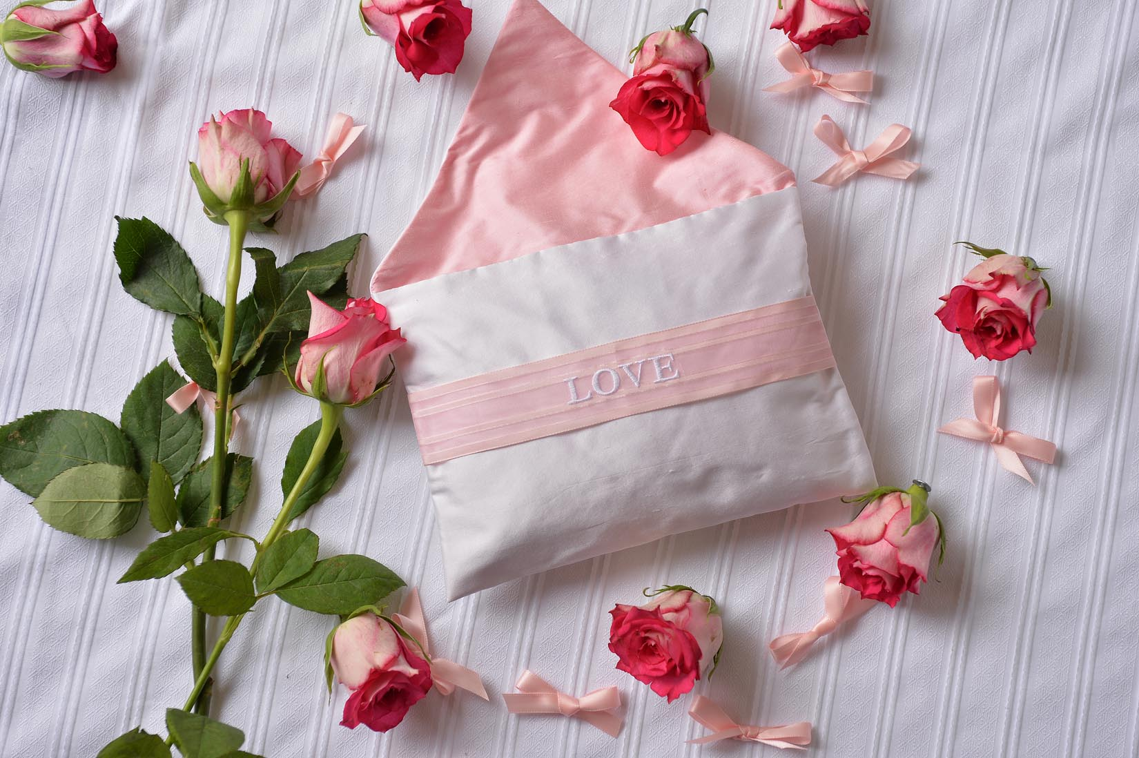 "'Love"" Chiffon porcelain silk envelope cushion - MyBilletDoux.com"