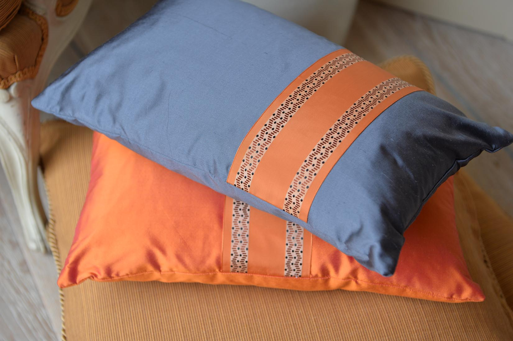 """Serpentin"" Pumpkin orange silk cushion - MyBilletDoux.com"