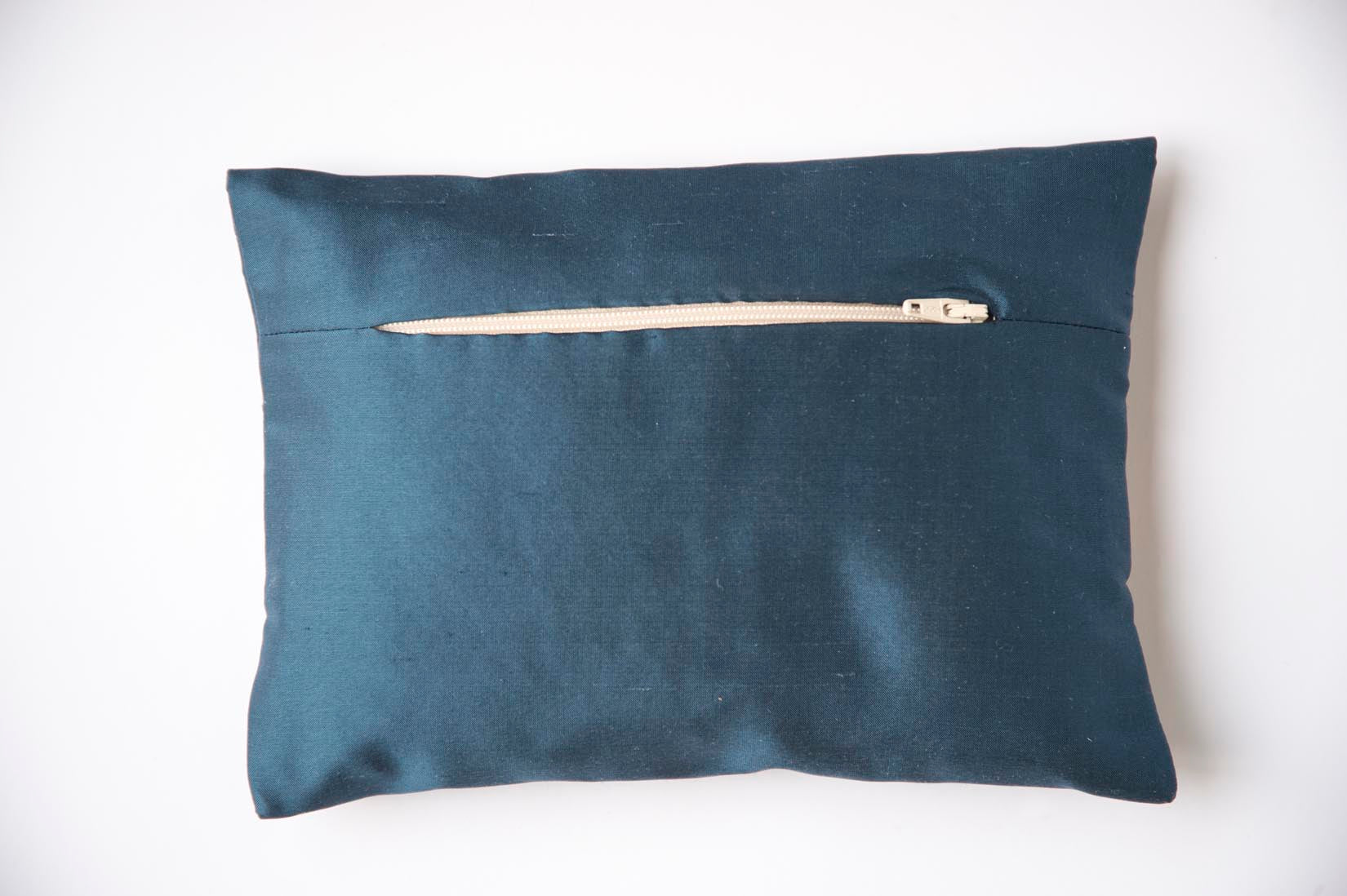 Zig-zag Insigna blue silk envelope cushion - MyBilletDoux.com