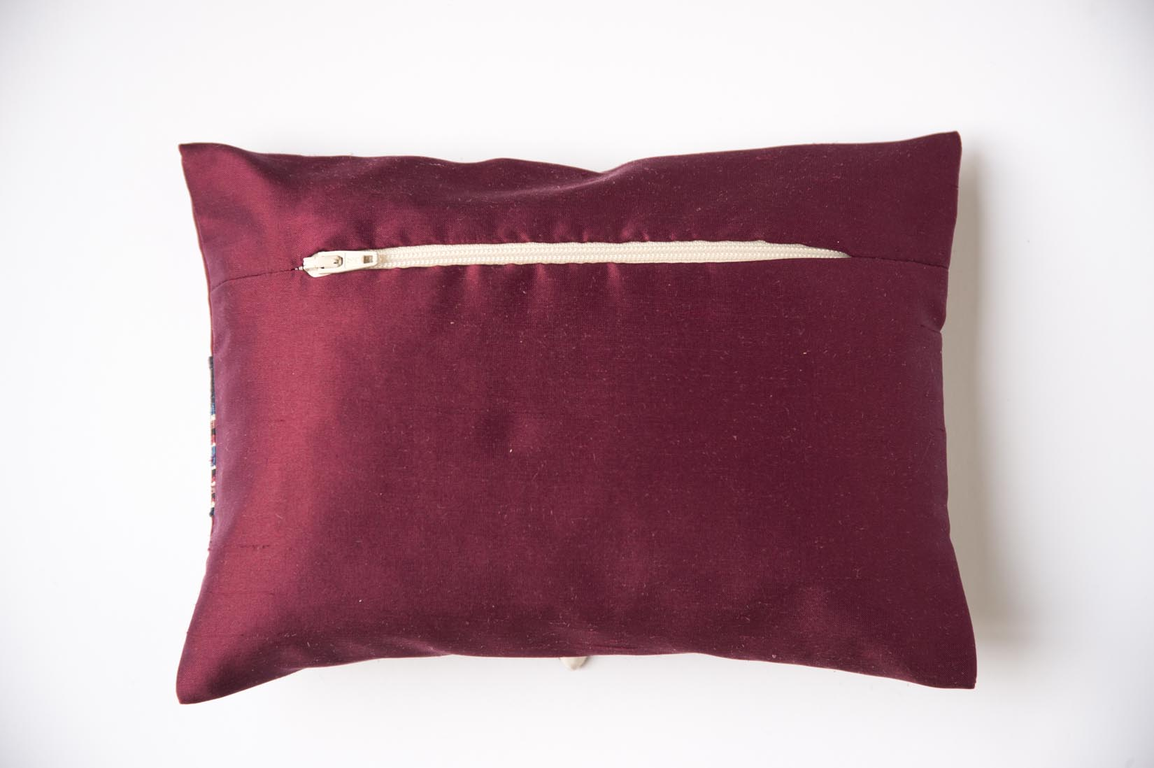 Zig zag Wine red silk ring cushion - MyBilletDoux.com
