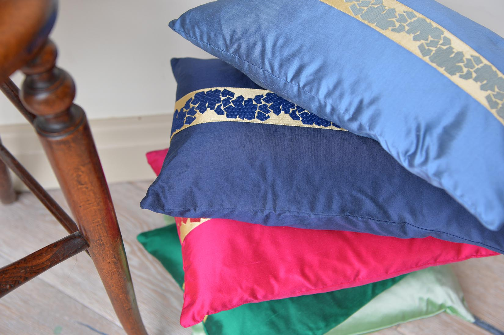 """Fragment"" Rivera blue silk cushion - MyBilletDoux.com"