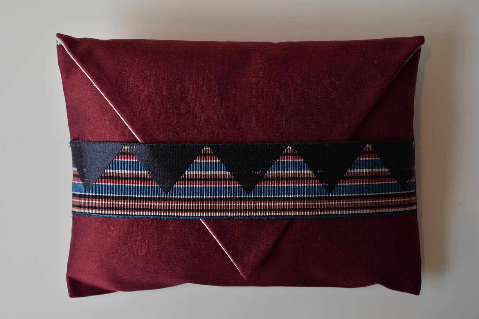 Zig zag Wine red silk envelope cushion - MyBilletDoux.com