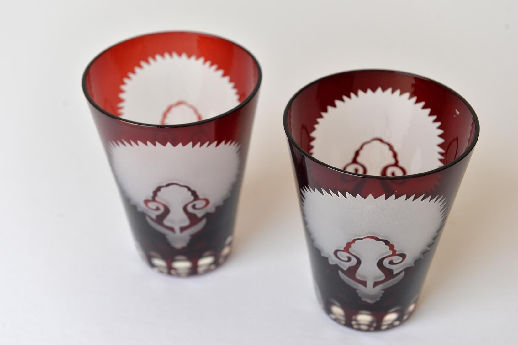 Pair of Ottoman cut-glass glasses - MyBilletDoux.com