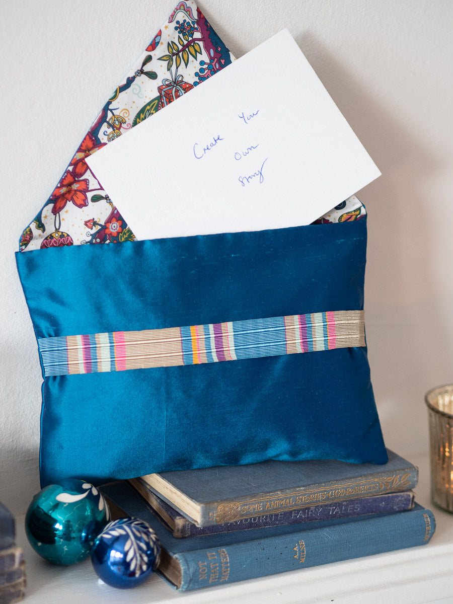 """Noel"" aster blue silk envelope cushion"