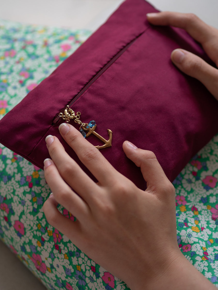 """Roses anciennes"" wine red silk envelope cushion"