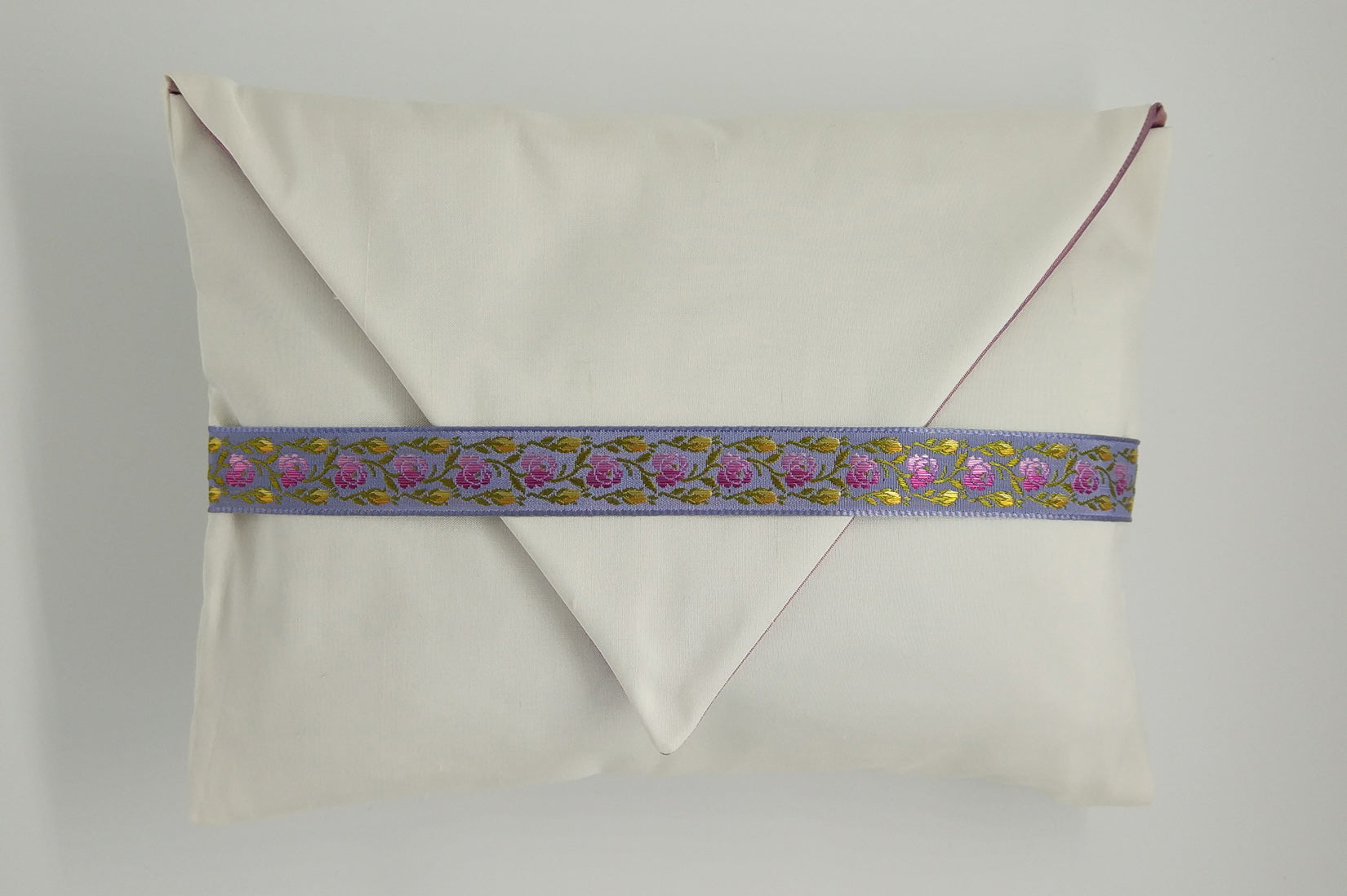 """Roses"" Porcelain silk envelope cushion - MyBilletDoux.com"