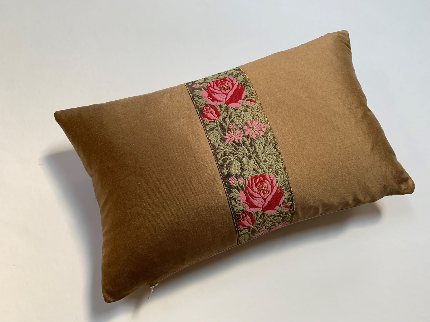 """Rose"" Herb brown silk cushion - MyBilletDoux.com"