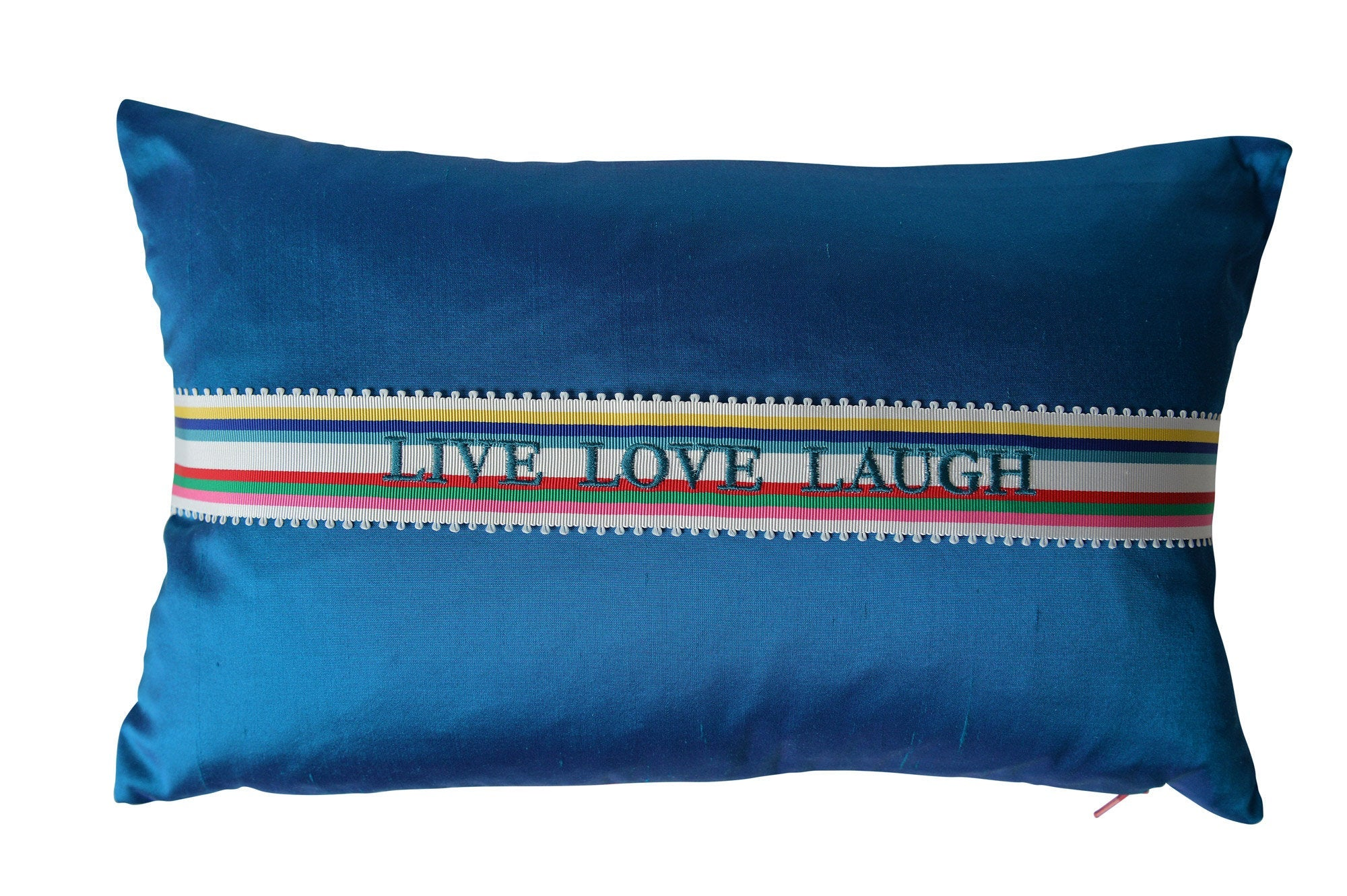 """Live Love Laugh"" Turquoise silk cushion - MyBilletDoux.com"
