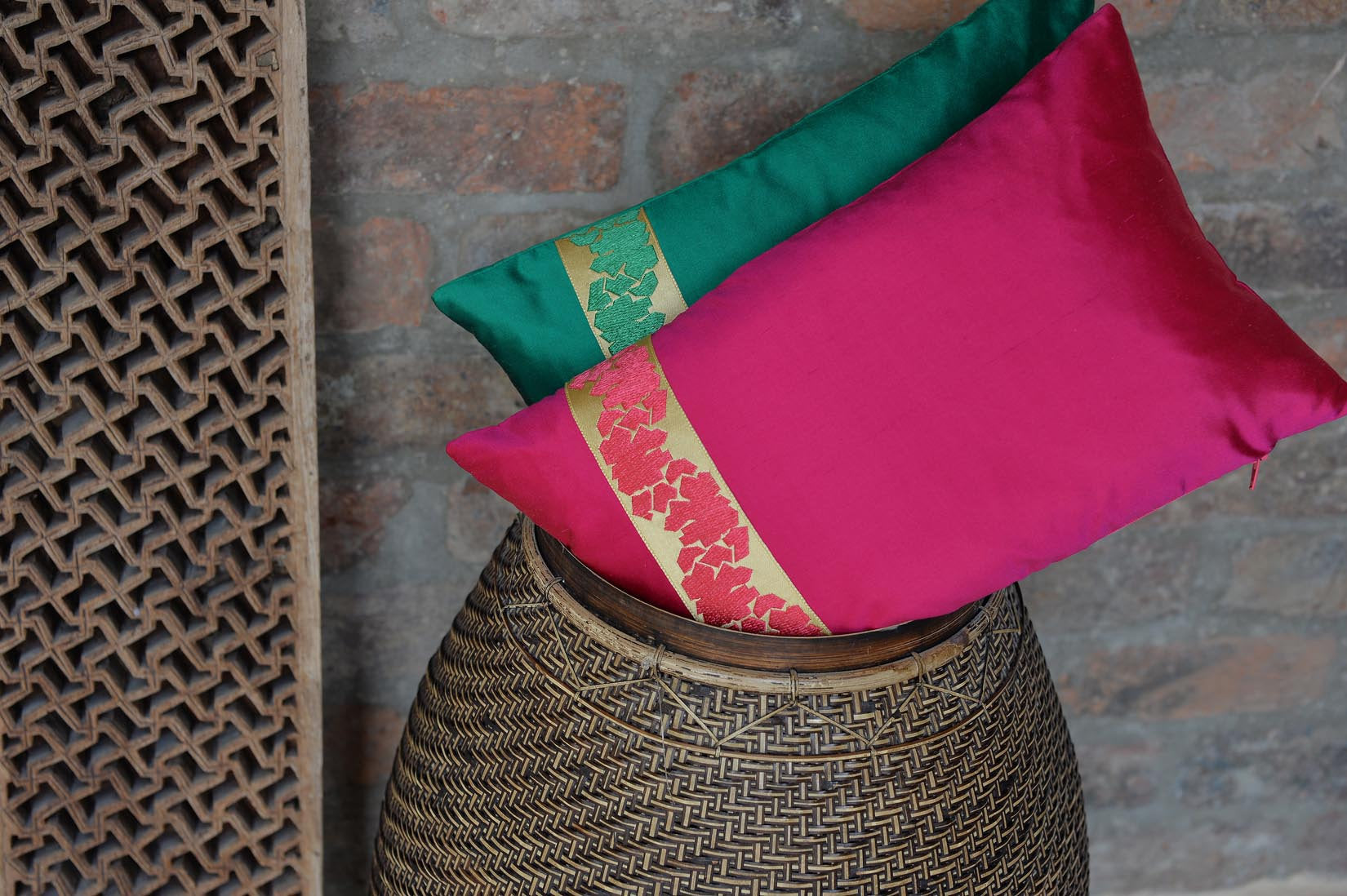 """Fragment"" hot pink silk cushion - MyBilletDoux.com"