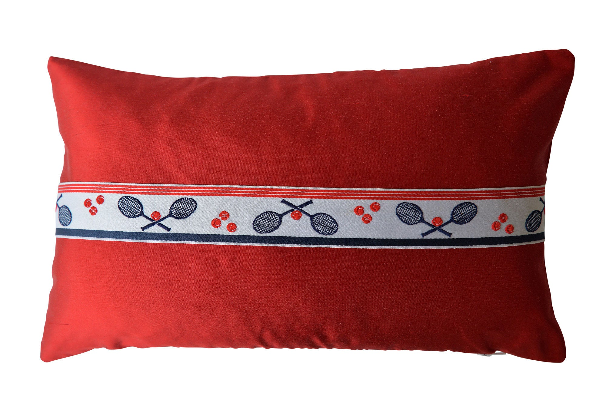 """Tennis"" Ruby red silk cushion - MyBilletDoux.com"