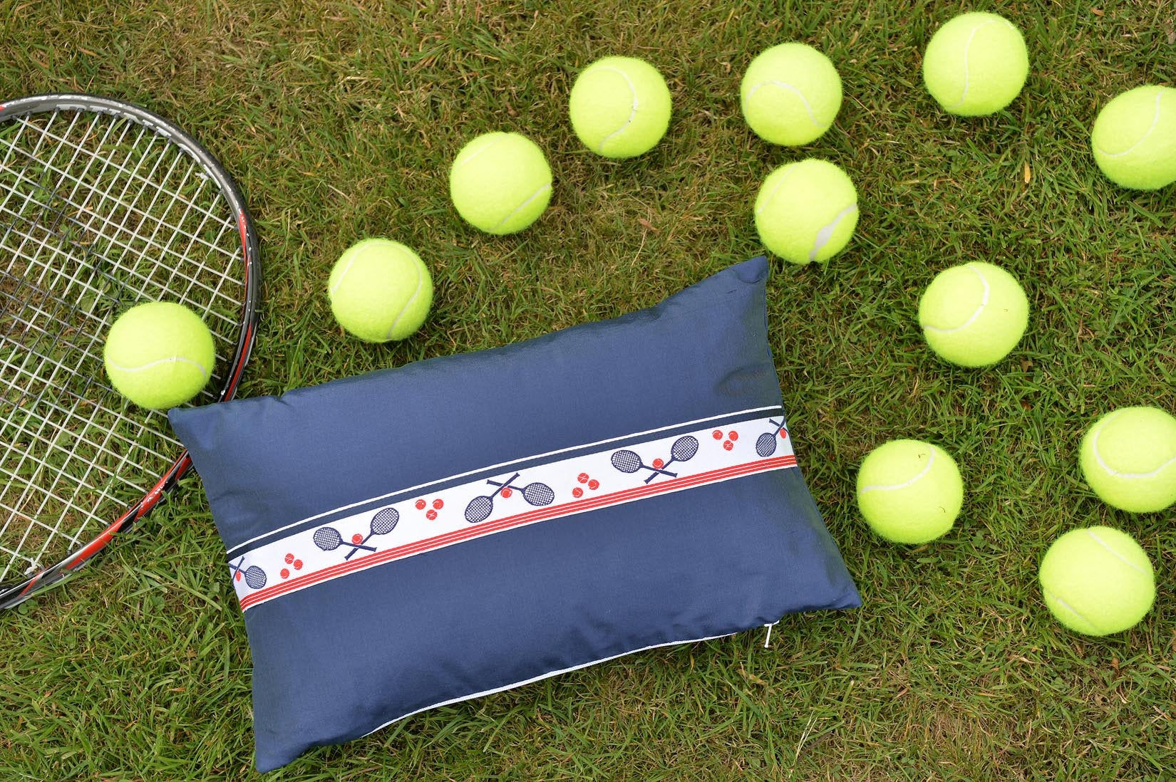"""Tennis"" Wilhelm blue silk cushion - MyBilletDoux.com"