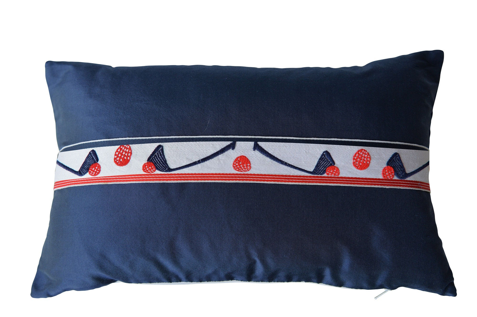 """Golf"" Wilhelm blue silk cushion - MyBilletDoux.com"