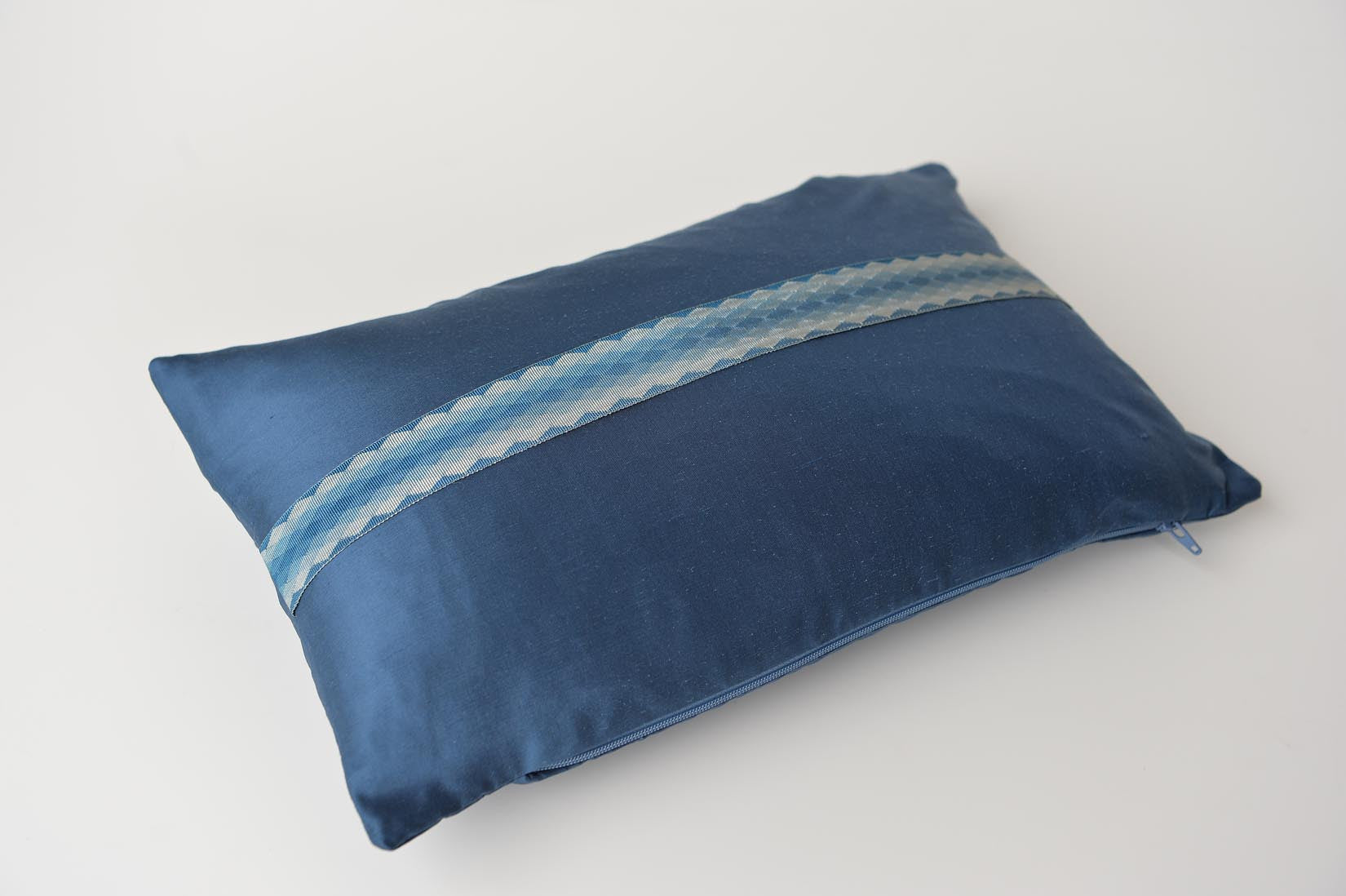 """Arlequin"" Insignia blue silk cushion - MyBilletDoux.com"