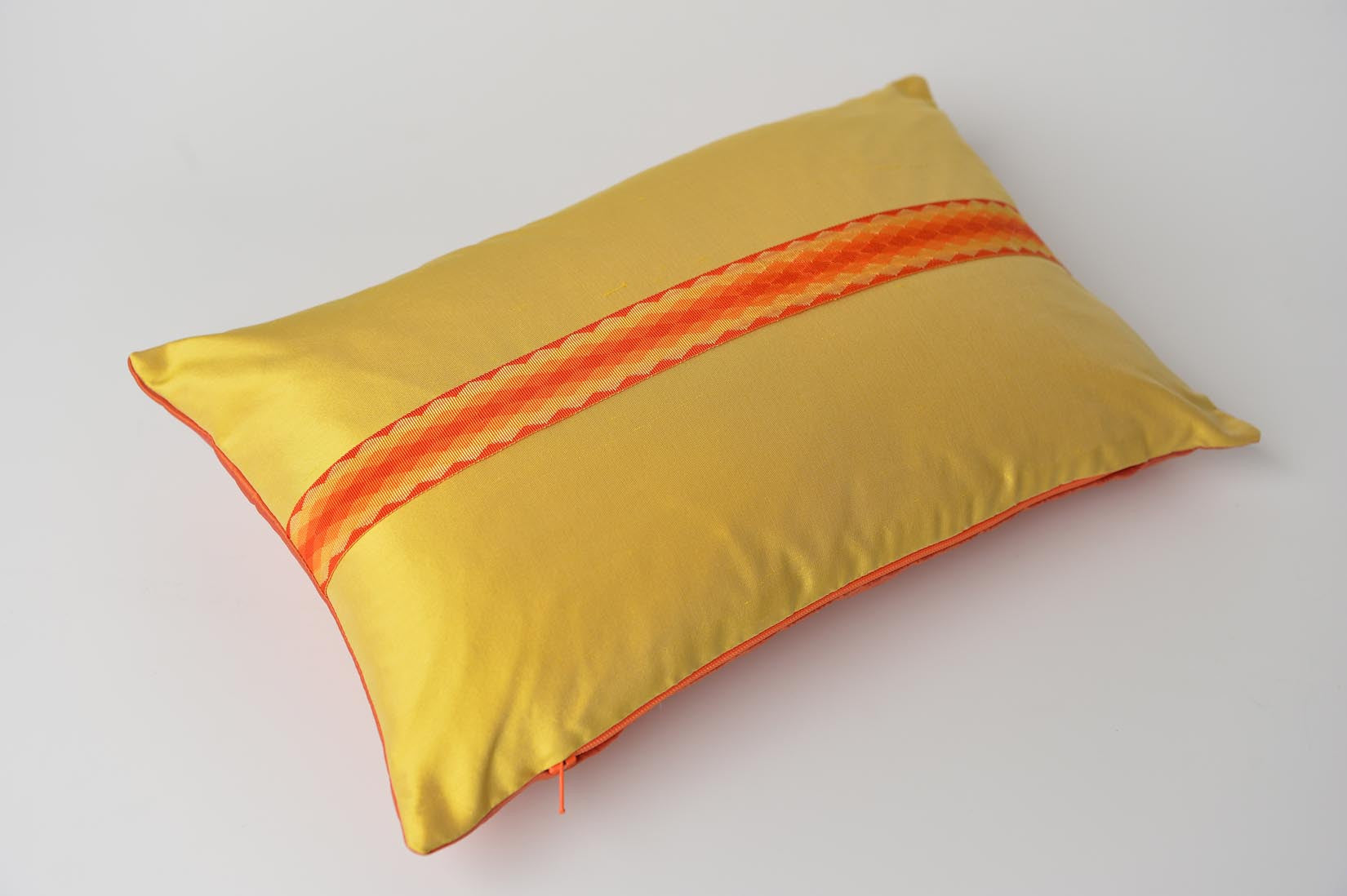 """Arlequin"" Marigold yellow silk cushion - MyBilletDoux.com"