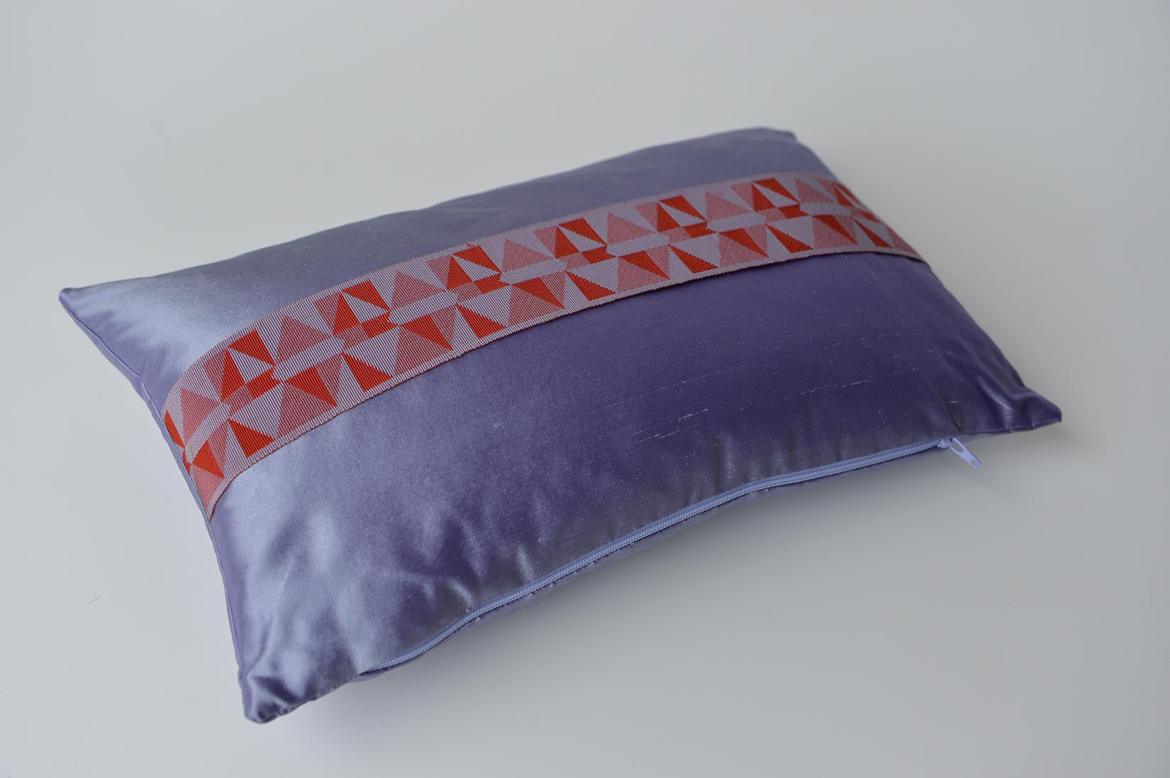 """Triangulaire"" Amethyst purple silk cushion - MyBilletDoux.com"