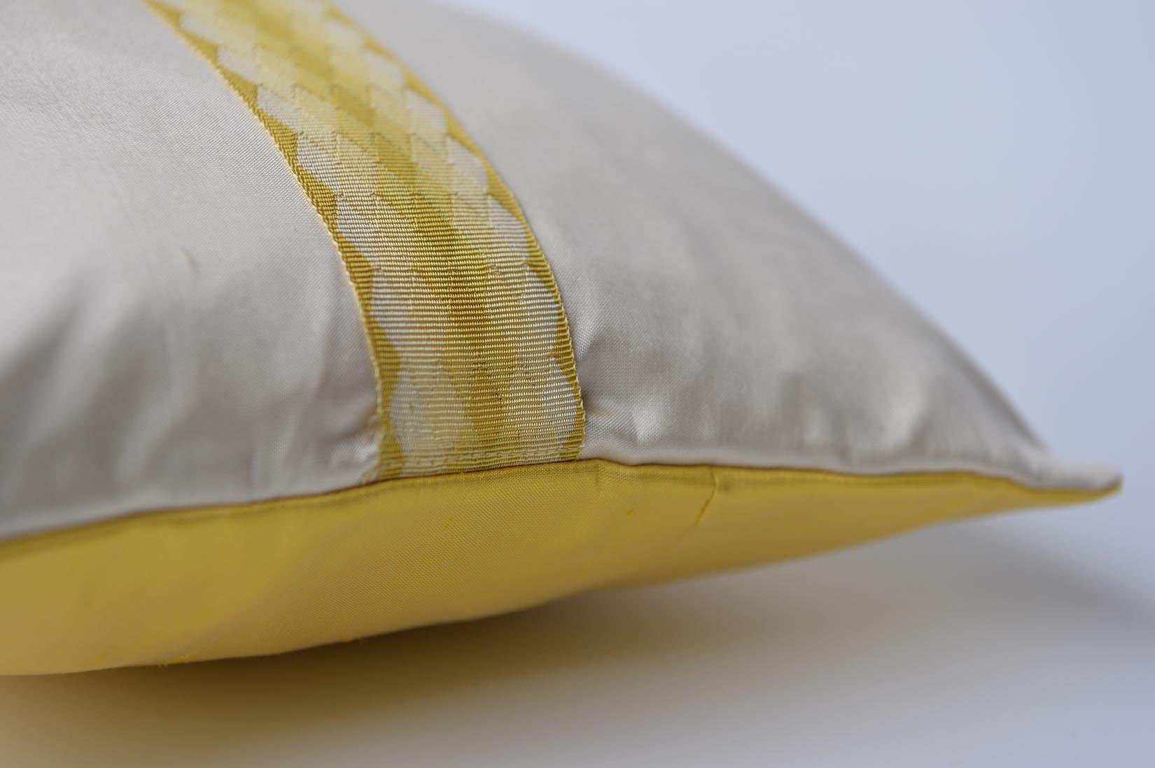 """Arlequin"" Ivory silk cushion - MyBilletDoux.com"