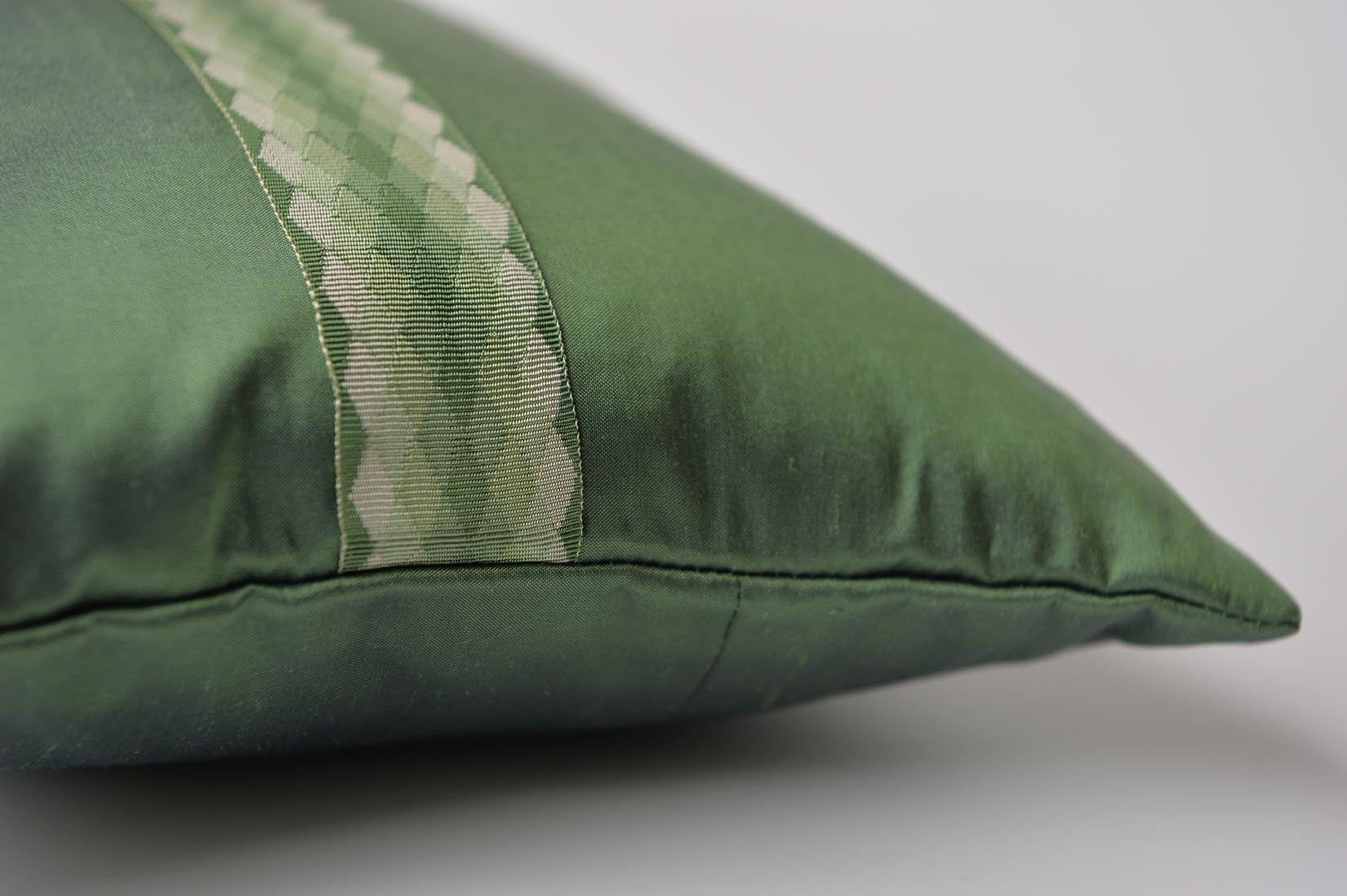 """Arlequin"" Fern green silk cushion - MyBilletDoux.com"