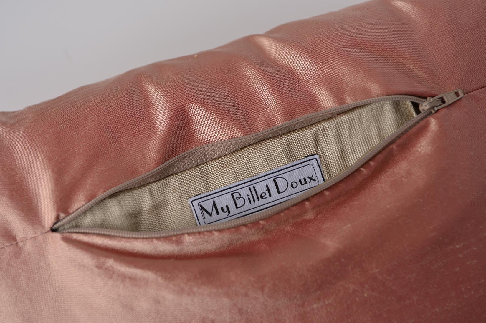 """Arlequin"" Sunset pink silk cushion - MyBilletDoux.com"