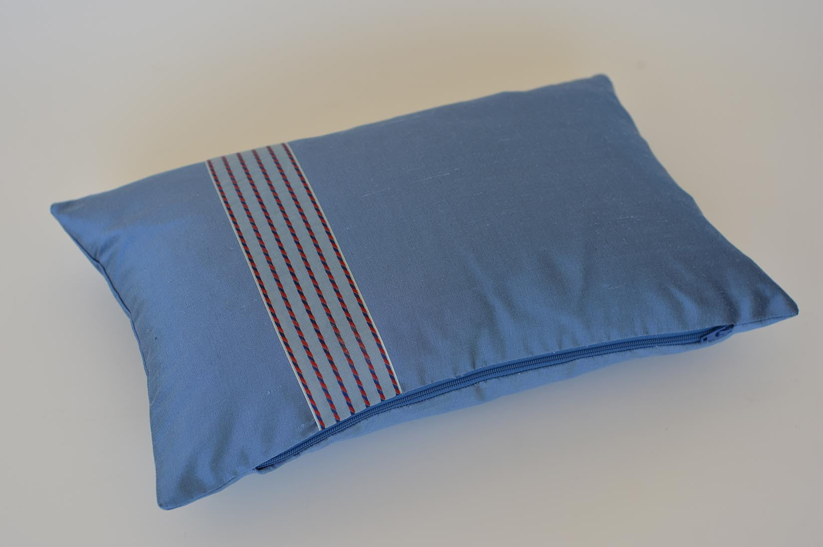 """Voile"" Rivera blue silk cushion - MyBilletDoux.com"