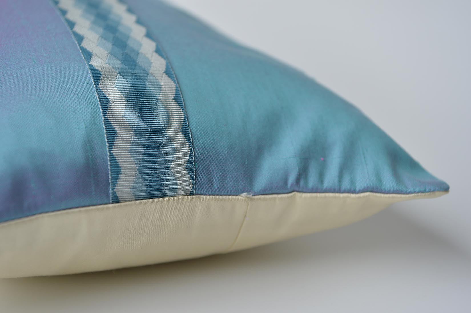 """Arlequin"" Oasis blue silk cushion - MyBilletDoux.com"